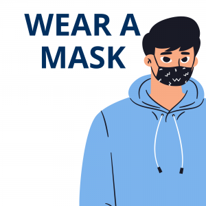 Man in workout clothes wearing a mask that covers his nose and mouth