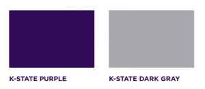 Swatches of color for K-State Purple and K-State Dark gray