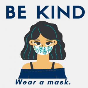 Words be kind wear a mask and an image of woman wearing a mask